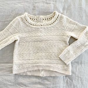 Anthropologie Moth cropped beige knitted sweater